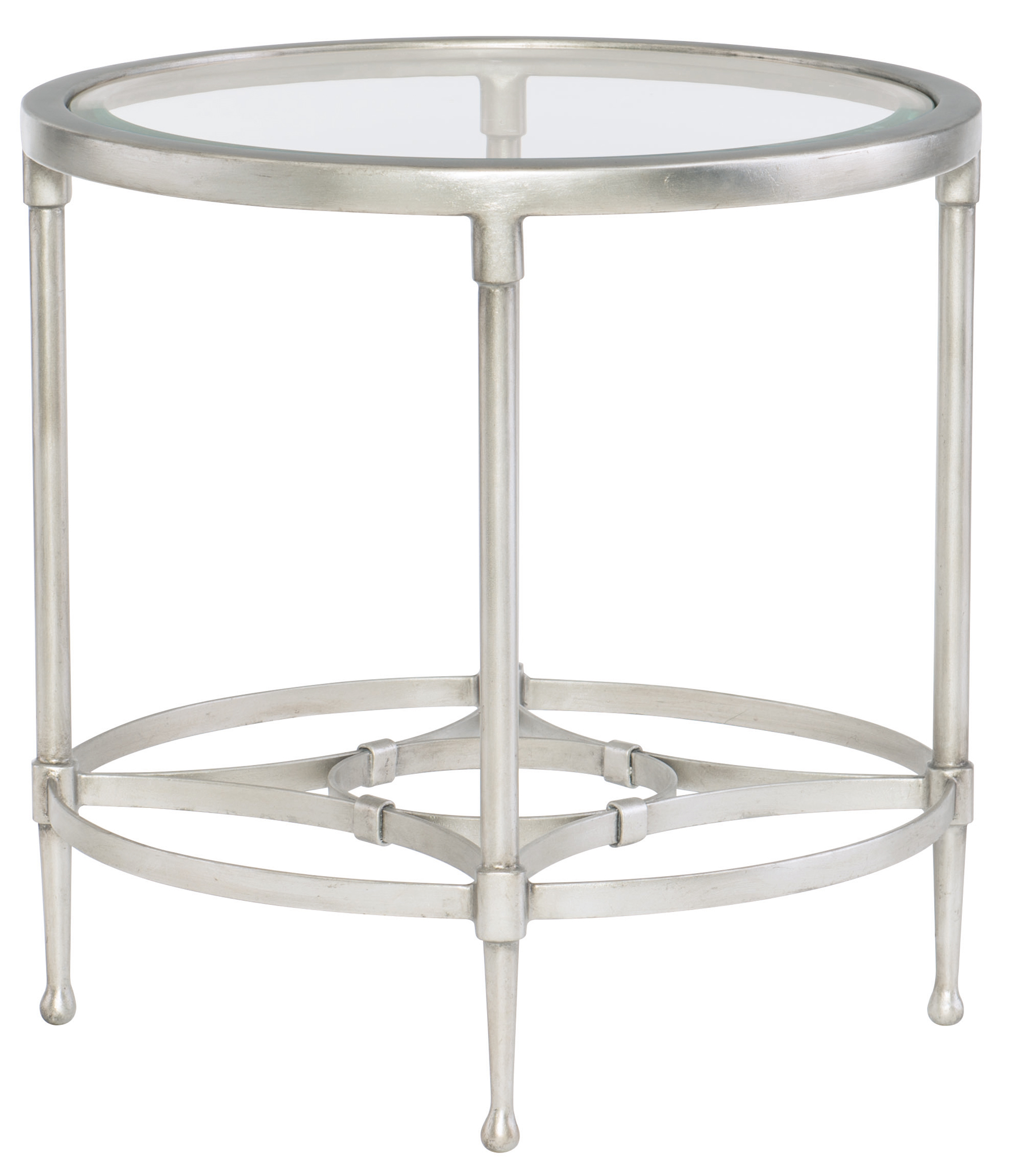 Round Metal End Table With Glass Top Bernhardt