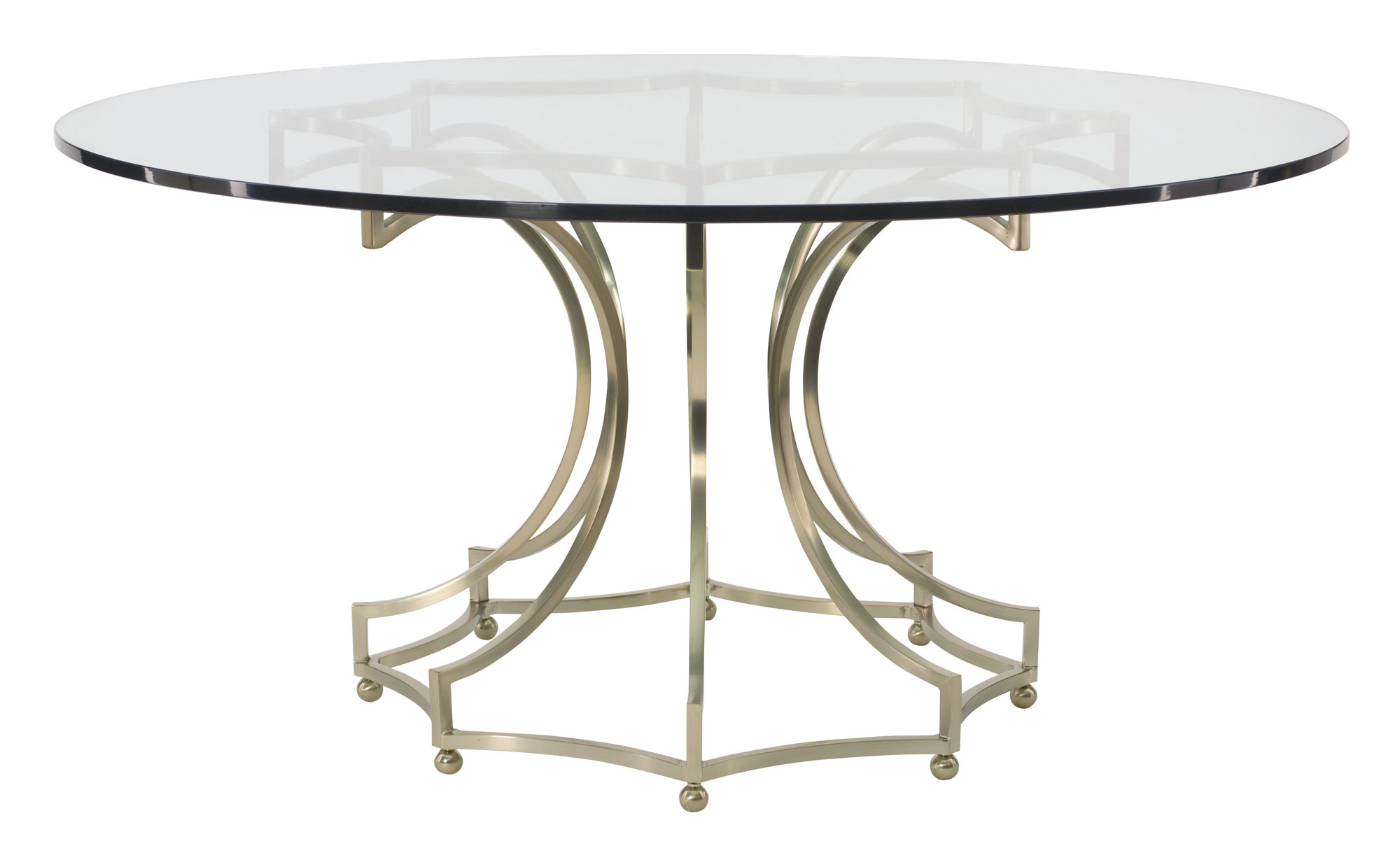 round dining table glass top with metal base bernhardt
