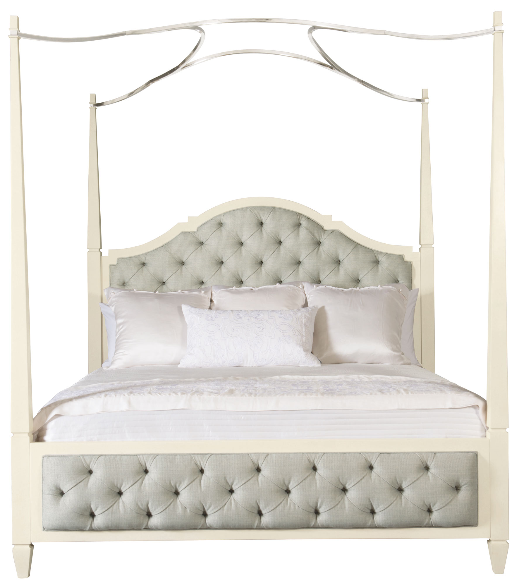 Upholstered Poster Bed With Metal Canopy Optional