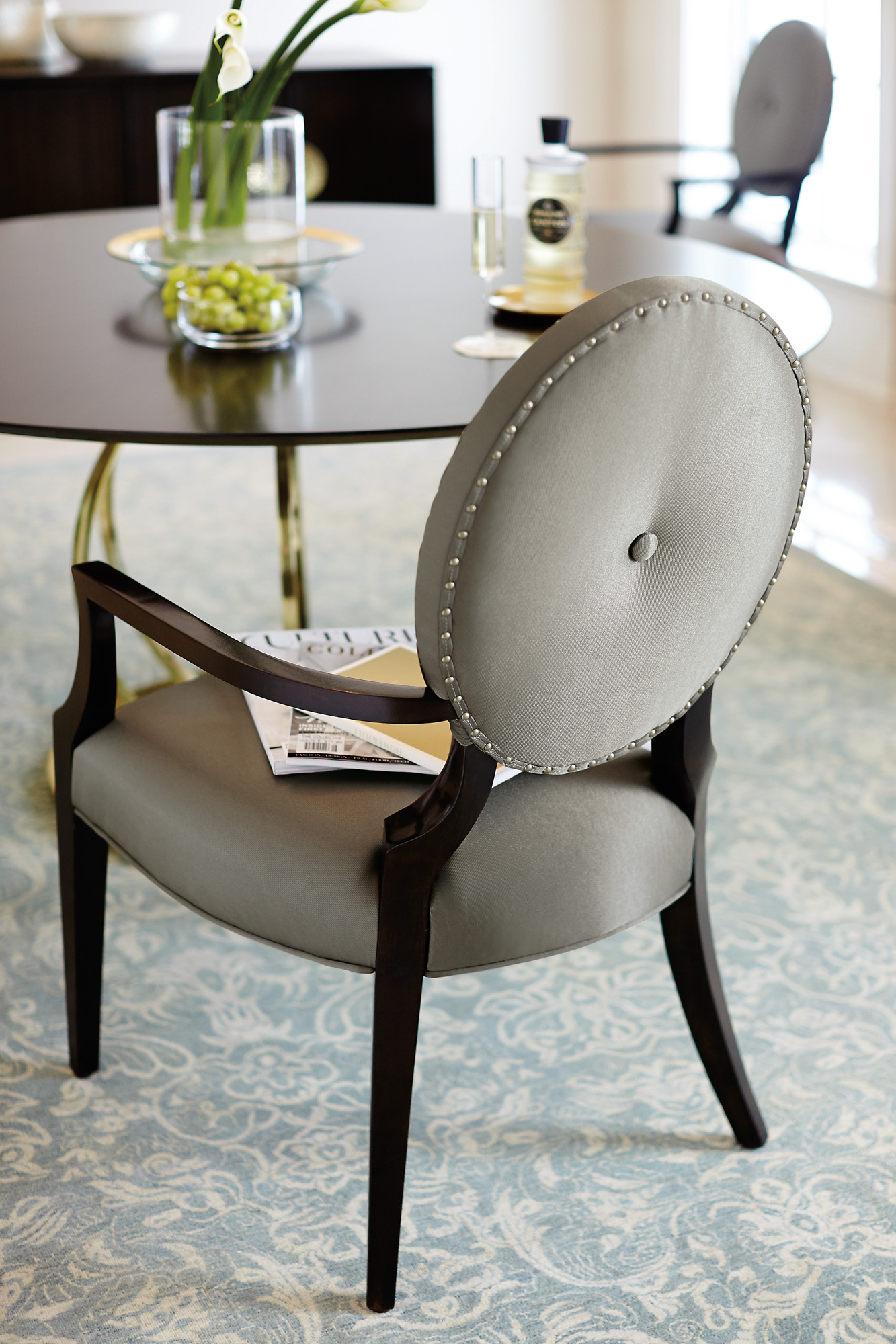 Jet Set Round Dining Table Arm Chair – Bernhardt Dining Room Furniture