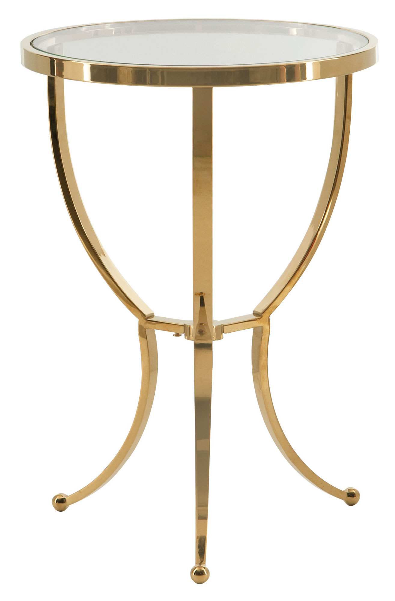 Round chairside table bernhardt for Round gold side table