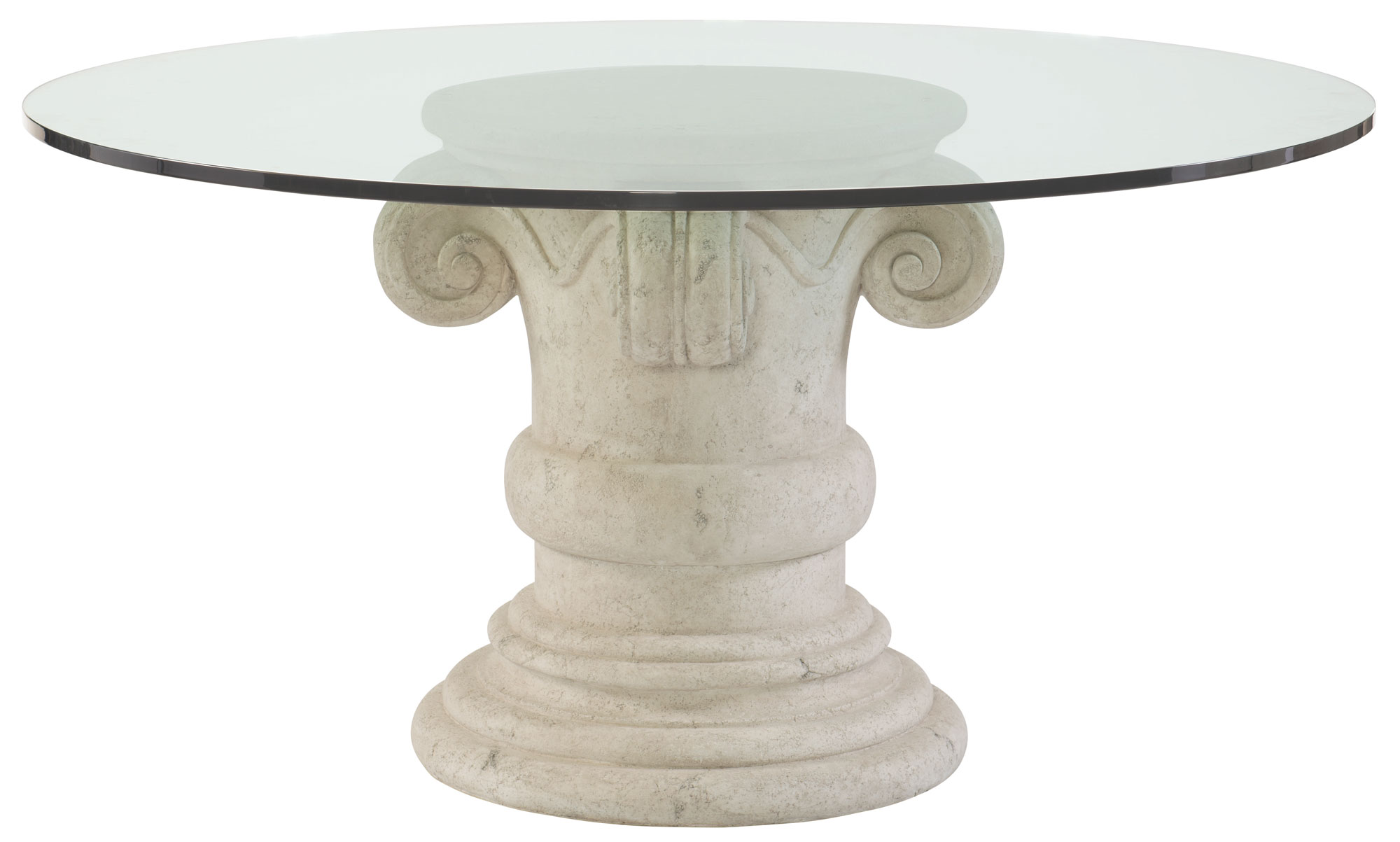 Round Dining Table Glass Top And Pedestal Base Bernhardt