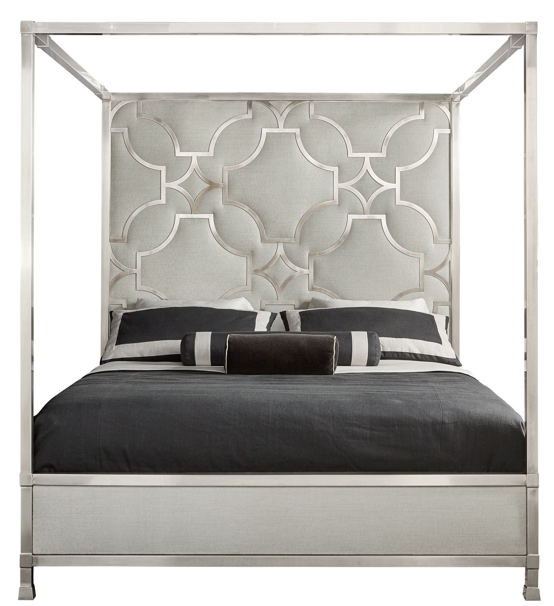 Domaine Blanc Upholstered Metal Canopy King Bed