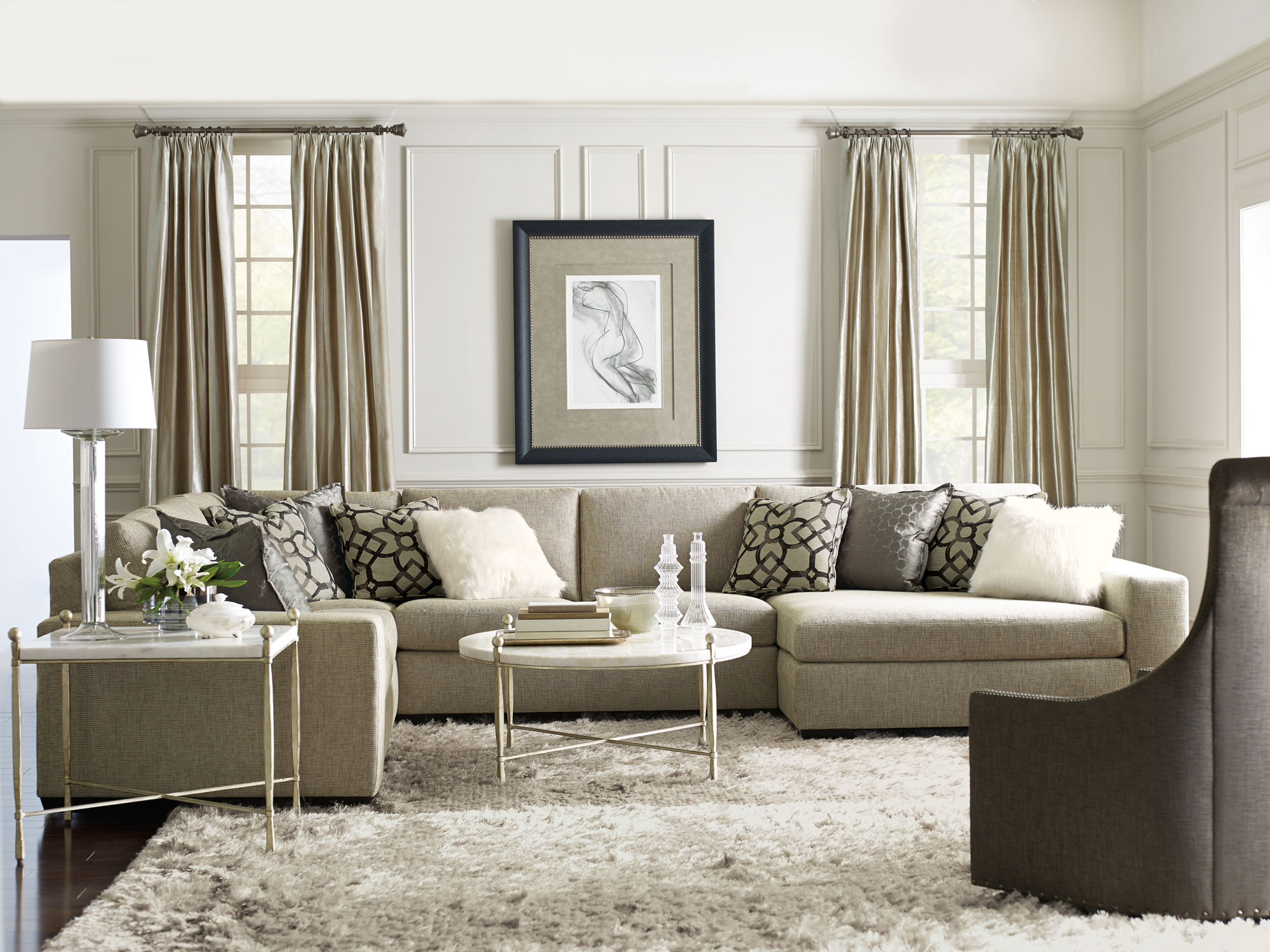 Transitional Living Room Furniture : Maurice Orlando Clarion Living Room  Bernhardt