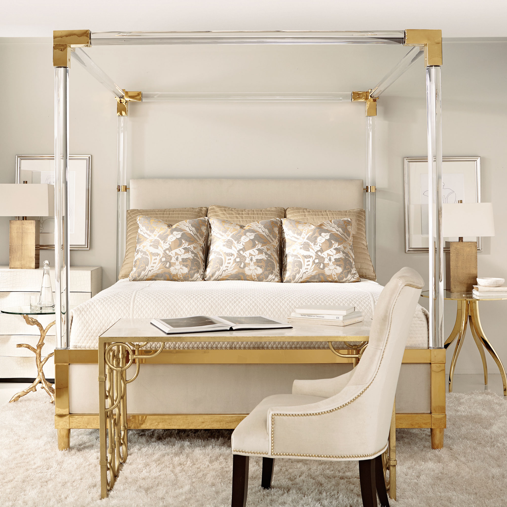 Acrylic Canopy Upholstered Bed Bernhardt
