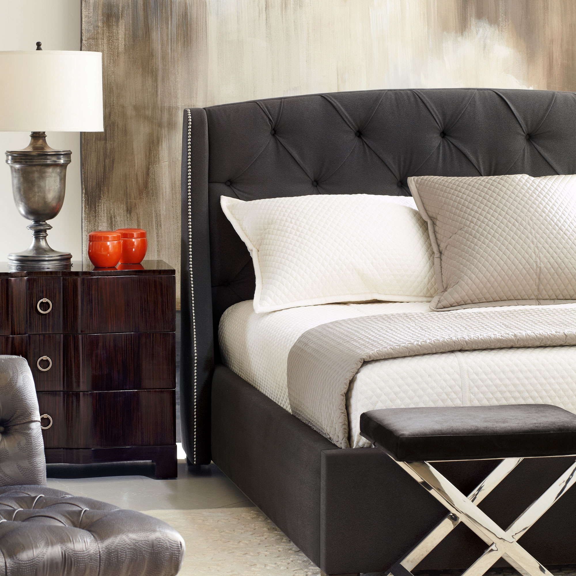 """button-tufted wing bed (54-1/8""""h) 